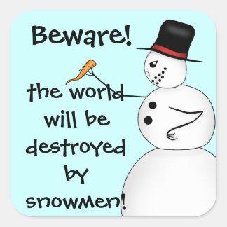 Evil snowmen destroy the world square sticker