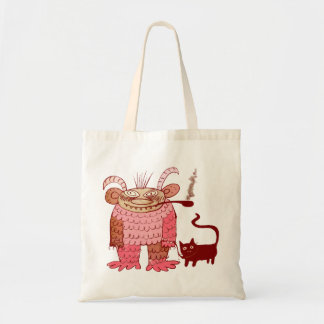 evil sorcerer with his cat budget tote bag