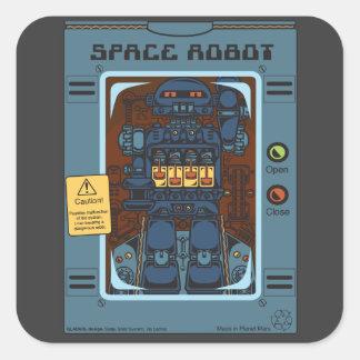 Evil Space Robot Box Square Sticker