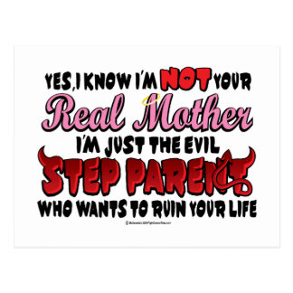 Evil Step Parent Mom Postcard