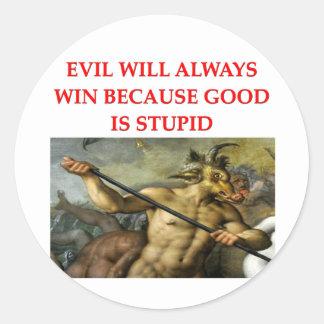 evil round stickers