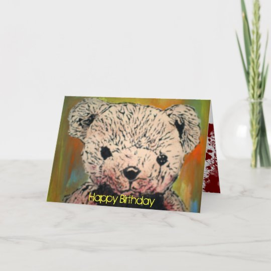 Evil Teddy Bear Birthday Card Zazzle
