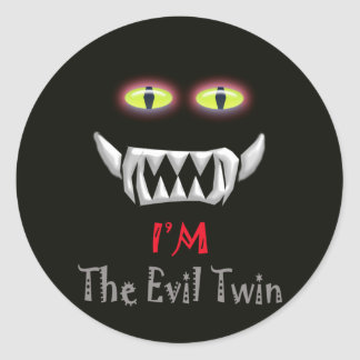 evil twin classic round sticker