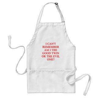evil twin joke adult apron