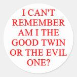evil twin joke classic round sticker