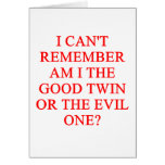 evil twin joke greeting card