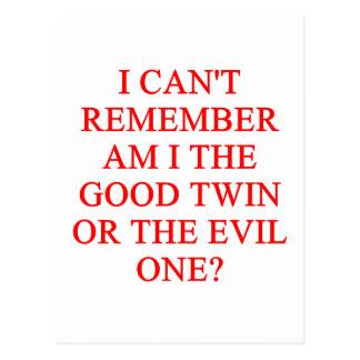 evil twin joke postcard