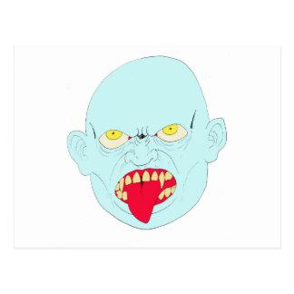 Evil Vampire Head Art Postcard