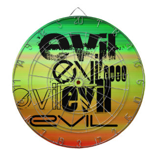 Evil; Vibrant Green, Orange, & Yellow Dart Board