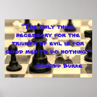 Evil vs Good Men Edmund Burke Quote Poster