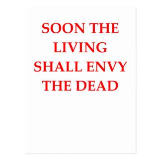evil warning postcard