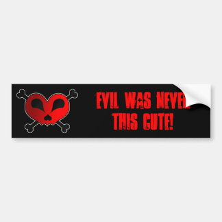 Evil Was Never This Cute - Heart Skull & Crossbone Bumper Sticker
