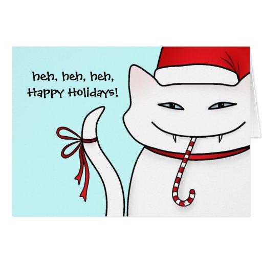 Evil white Christmas kitty blue background Card