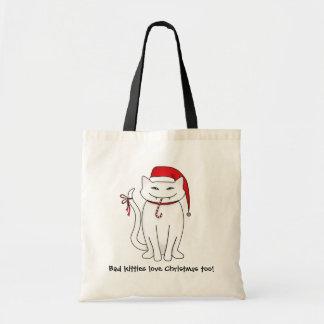 Evil white Christmas kitty Tote Bag
