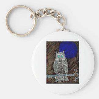 Evil White Owl Basic Round Button Keychain