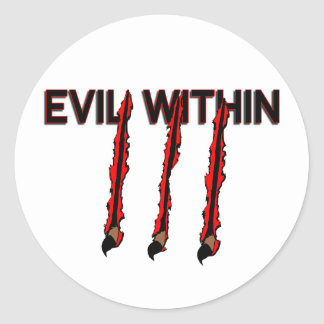 Evil Within Claw Marks Classic Round Sticker
