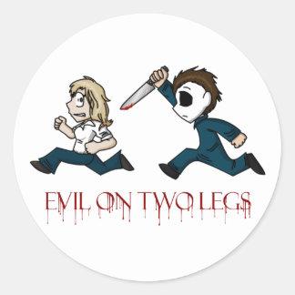 Evilontwolegs caricatures classic round sticker