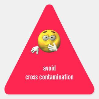 Evite la contaminación cruzada pegatina triangular