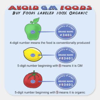 Evite las comidas del GM evitan 5 el dígito PLU Calcomanía Cuadradas Personalizadas