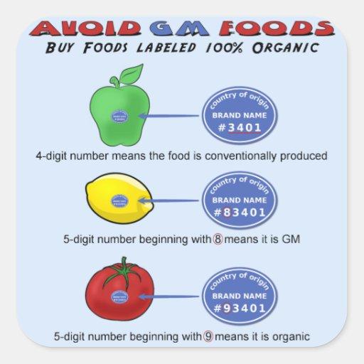Evite las comidas del GM evitan 5 el dígito PLU qu Calcomanía Cuadradase