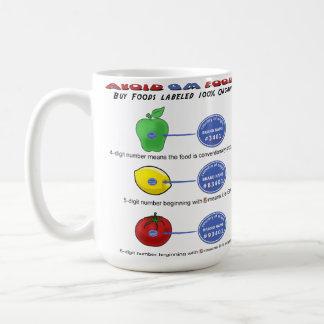 Evite las comidas del GM evitan 5 el dígito PLU qu Tazas De Café
