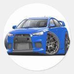 Evo Blue Car Round Stickers
