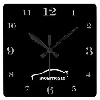 EVO IX white brushstroke logo Square Wall Clock