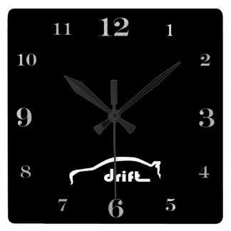 "EVO Lancer  ""drift"" white silhouette logo Square Wall Clock"
