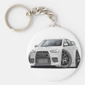Evo White Car Basic Round Button Keychain