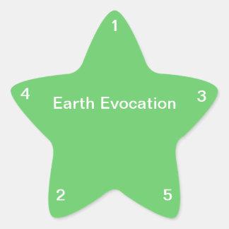 Evocación de la tierra pegatina en forma de estrella