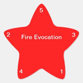 Evocación del fuego pegatina en forma de estrella