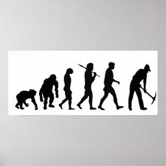 Evolución de excavación del jardinero del trabajad poster