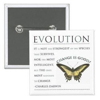 Evolución de la cita de Darwin Pin Cuadrado