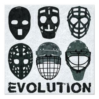 """Evolución de la máscara del portero del hockey invitación 5.25"""" x 5.25"""""""