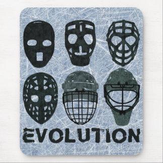 Evolución de la máscara del portero del hockey alfombrilla de ratón