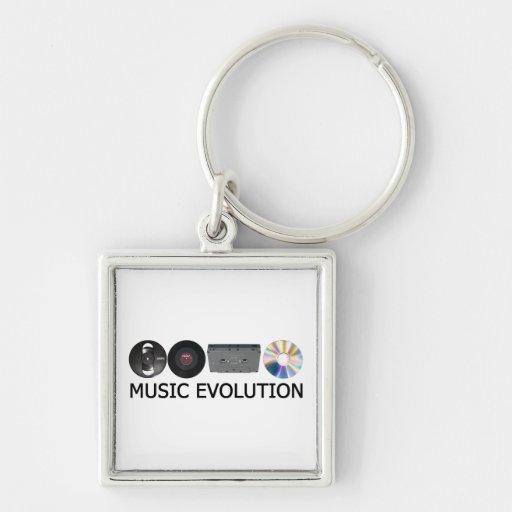 Evolución de la música llavero cuadrado plateado