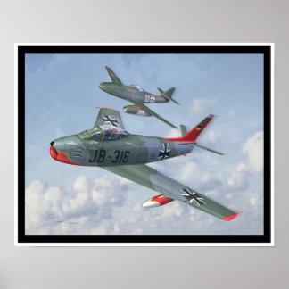 Evolución de la raza: F-86 y yo 262 en la formació Póster