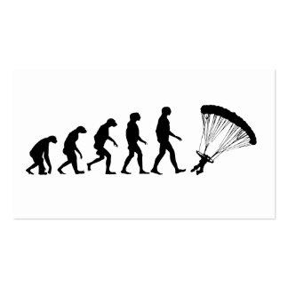 Evolución de lanzarse en paracaídas tarjetas de visita