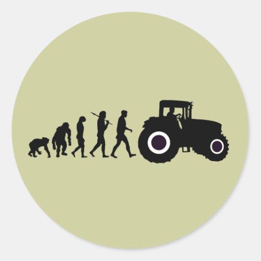 Evolución de los granjeros de cultivar conductores pegatina redonda