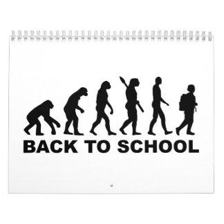 Evolución de nuevo a escuela calendario de pared