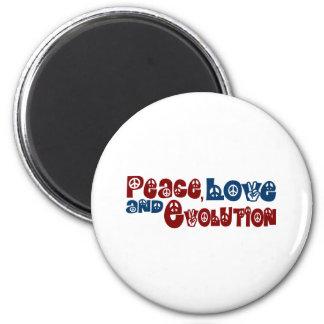 Evolución del amor de la paz imán redondo 5 cm