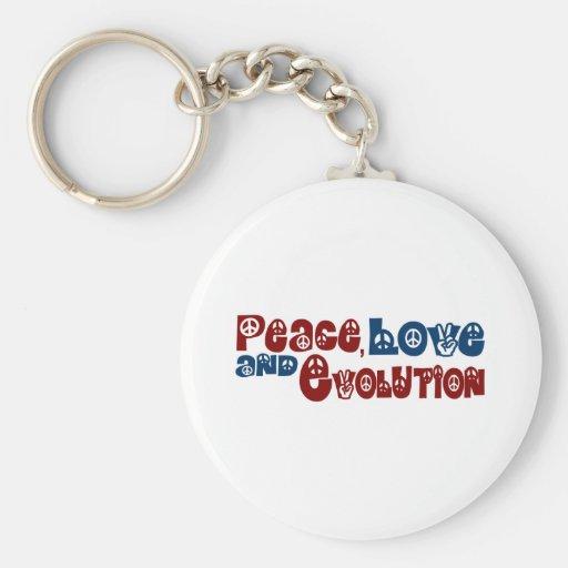 Evolución del amor de la paz llavero redondo tipo pin