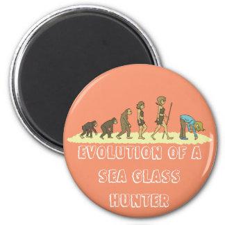 Evolución del cazador del vidrio del mar imán redondo 5 cm