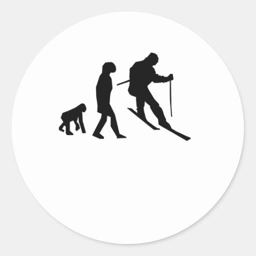 Evolución del esquí pegatina redonda