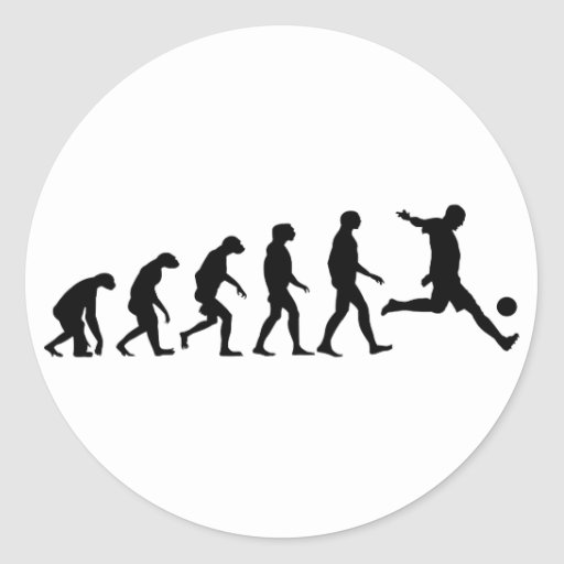 Evolución del fútbol etiquetas redondas