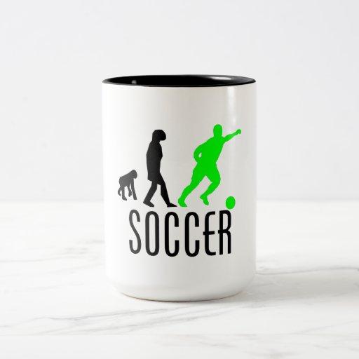 Evolución del fútbol (verde) tazas de café