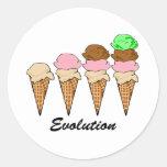 Evolución del helado pegatina redonda