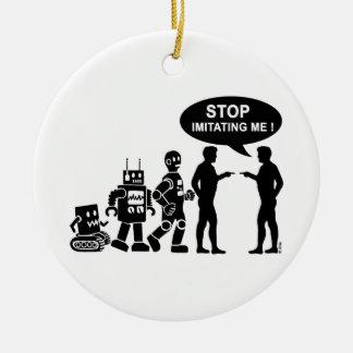 Evolución del robot adorno navideño redondo de cerámica