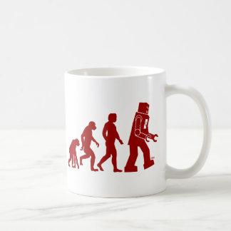 Evolución del robot del hombre en el robot taza de café