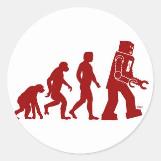 Evolución del robot - del hombre en los robots etiquetas redondas